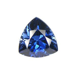 Blue Created Sapphire Trillion Faceted Unset 10mm