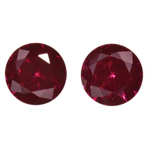 uGems Deep Red Synthetic Ruby Round Unset Loose Gem Corundum 5mm (2)