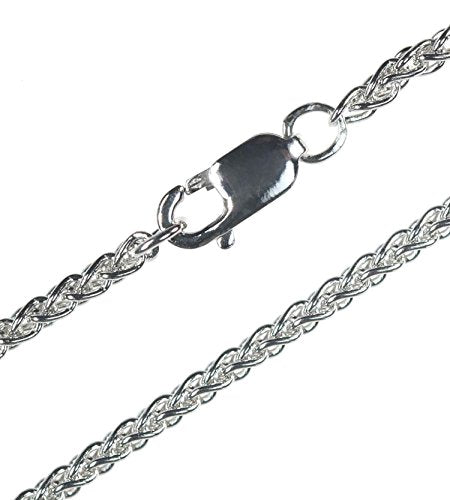 Sterling Silver Wheat Chain Rhodium 2mm 24 Inch