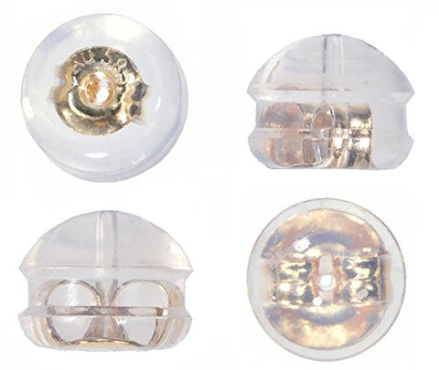 Silicone & 14k Yellow Gold Earring Backs Small Dome Style 2 Pairs