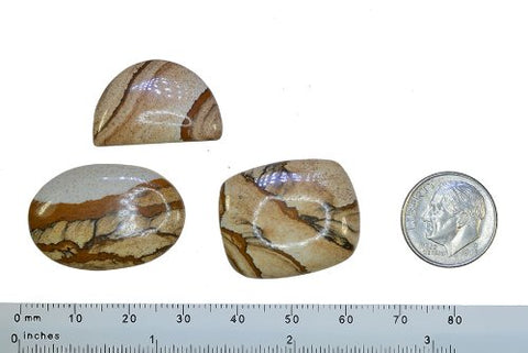 Picture Jasper Oval, Cushion, and Half-Moon Cabochon Lot Unset Gemstone s ~23mm-29mm (Qty=3)