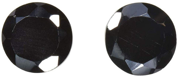 2 Black Spinel Rounds Unset Faceted 8mm (2)