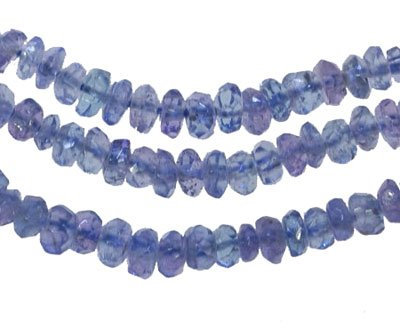 Tanzanite Natural Genuine Facet Rondelle Loose Beads Tiny ~3mm X 1.5mm (Qty=36)