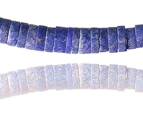 "uGems Lapis Lazuli Heishi Necklace Magnetic Gold Fill Clasp 16"" Denim Color"