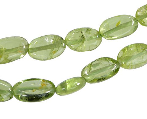 Peridot Smooth Oval Freeform Beads Small 6mm 13 Inch