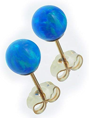 14k Gold Created Opal Round Stud Earrings