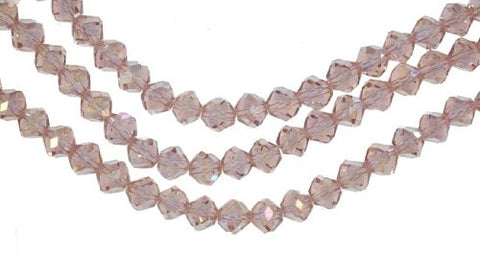 Peach Crystal Glass Fancy Cut Beads Strand 8mm 15.5