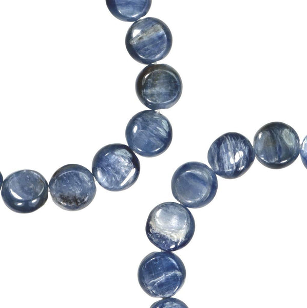 Blue Kyanite Button Disc Bead Strand 8mm 15.5 Inch