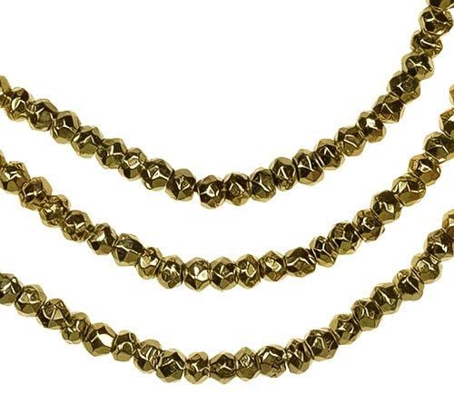 Pyrite Gold Coated Facet Rondelle Beads 3mm 13 Inch Strand