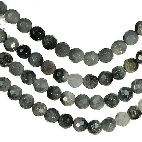 Eagle Eye Jasper 4mm Round Faceted Beads Strand 15.5""