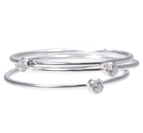 uGems Stacking Rings White CZ Assorted Ring Sizes and Metals