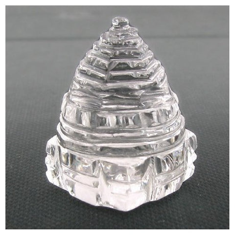 Rock Crystal Quartz Shri Yantra Carved Figurine Water White