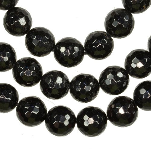 Black Tourmaline 10mm Micro Faceted Beads Strand Round 16""