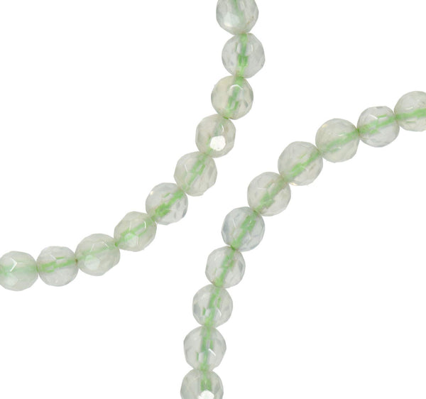 Prehnite Facet 4mm Round Green Small Beads Strand 15""