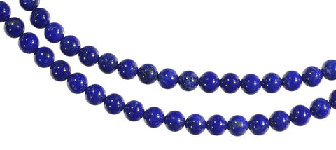Lapis Lazuli Royal Blue and White Calcite Golden Pyrite Round 6mm 16 Inch