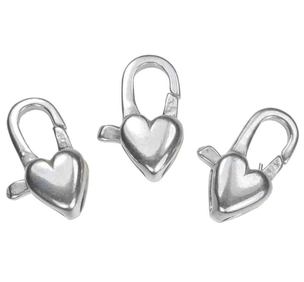 uGems Sterling Silver Heart Clasp 5x12mm (3)