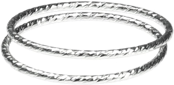 2 Sterling Silver Sparkle Stacking Rings Size 3