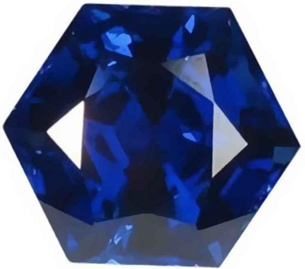 Blue Synthetic Sapphire Facet Gemstone 9mm Hexagon