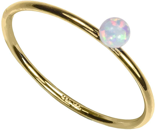 uGems 14Kt Gold Filled Stacking Rings with Assorted Created Gemstones