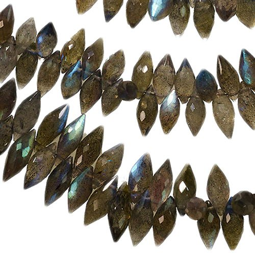 "Labradorite Marquise Briolette Drops Facet Genuine Natural ~80 Beads 12mm 8"" Strand"