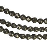 "Natural Pyrite Facet Round Beads 4mm 14"" Strand"