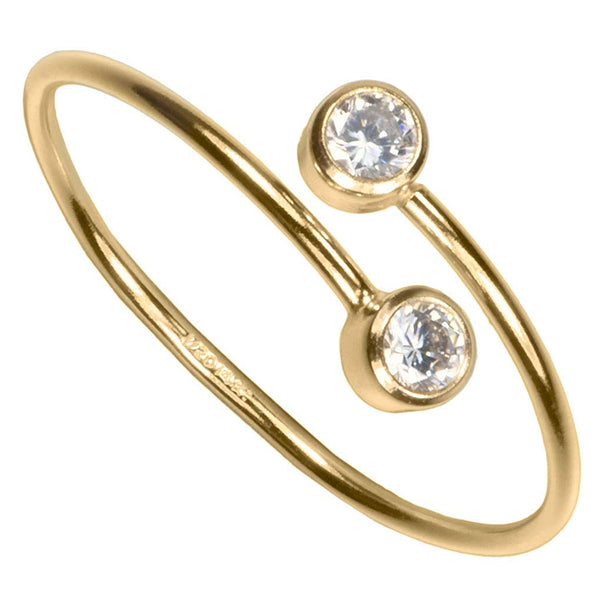 uGems 14K Gold Filled White 2-CZ Adjustable Ring Size 8