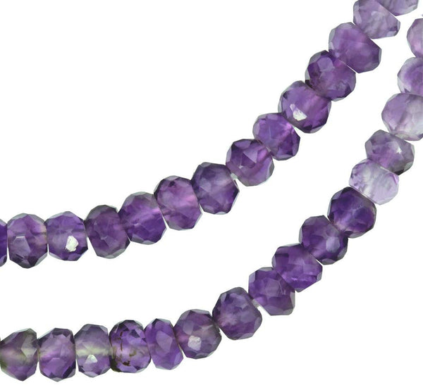uGems Shaded Amethyst Micro Faceted Rondelle Genuine Natural Beads Strand 3mm 14 Inch