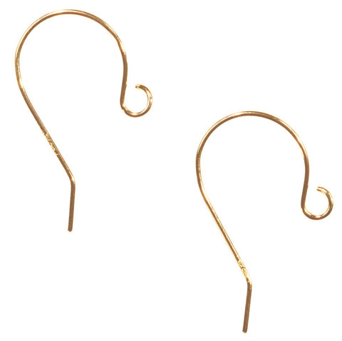 Earwire 14k Solid Yellow Gold Fishhook Earring Parts w/ Stoppers .016