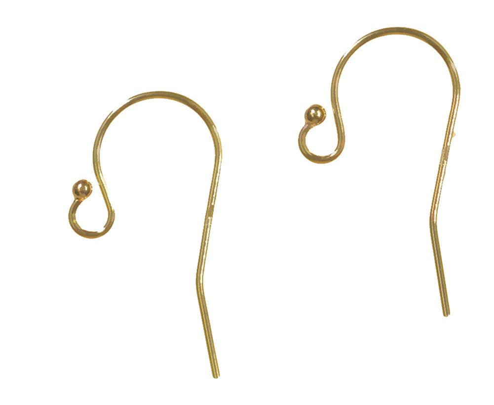 Earwire 14k Solid Yellow Gold Fancy Earring Parts Pair