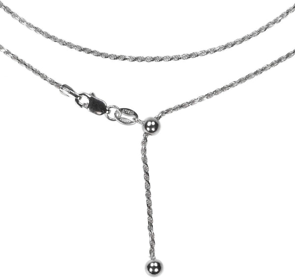 Sterling Silver Adjustable Diamond Cut Rope Chain 22 Inch Rhodium Finish Italy 1mm