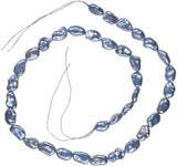 Silver Blue Peacock Freshwater Cultured Pearl Oval Nugget Strand Medium