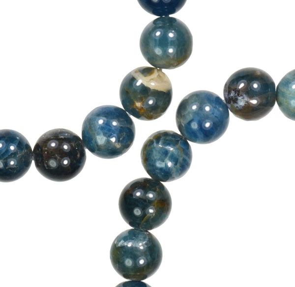 Apatite 10mm Blue Green Matrix Round Beads Strand 15 Inch