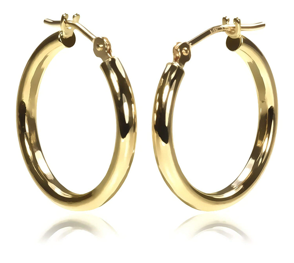 14K Gold 18 x 2mm Tube Hoop Earring