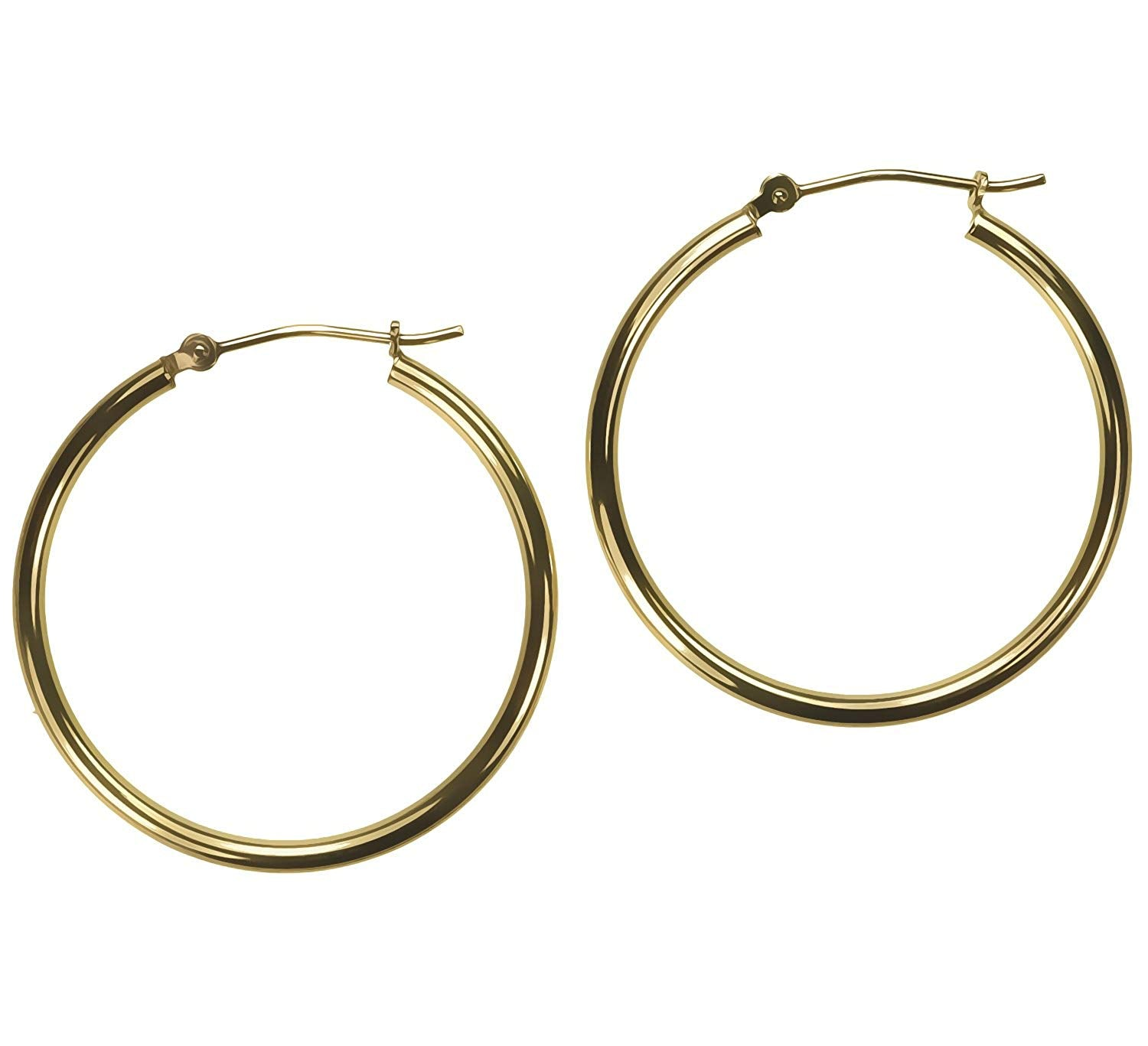 14K Gold 25mm x 2mm Tube Hoop Earrings