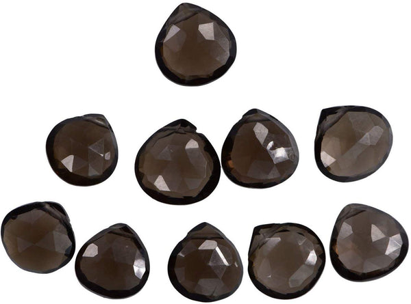 Smoky Quartz 9mm Heart Briolettes .017 Inch Hole (Qty=10)