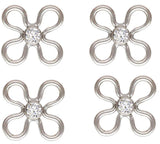 4 CZ Sterling Silver 7mm Flower Connectors 2mm White