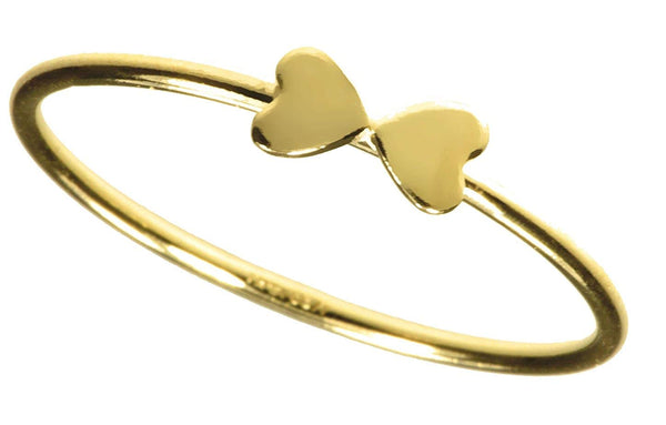 uGems 14K Gold Filled Double Heart Stacking Rings Size 5