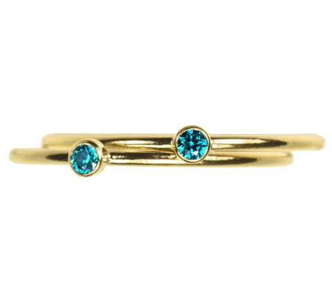 uGems 2 14K Gold Filled Aqua Blue CZ Stacking Rings Size 7