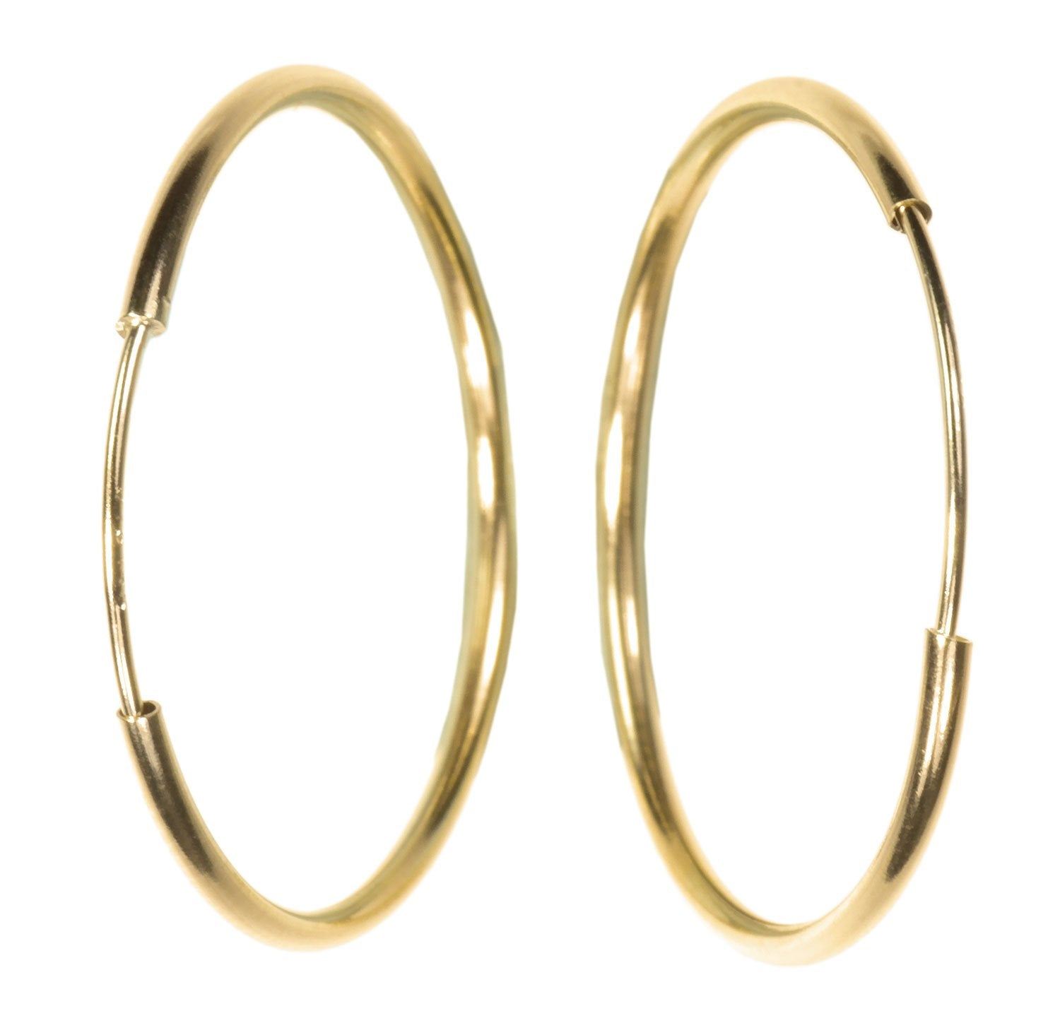 Solid 14K Gold Endless Beading Hoop 20mm 1-pair #14376