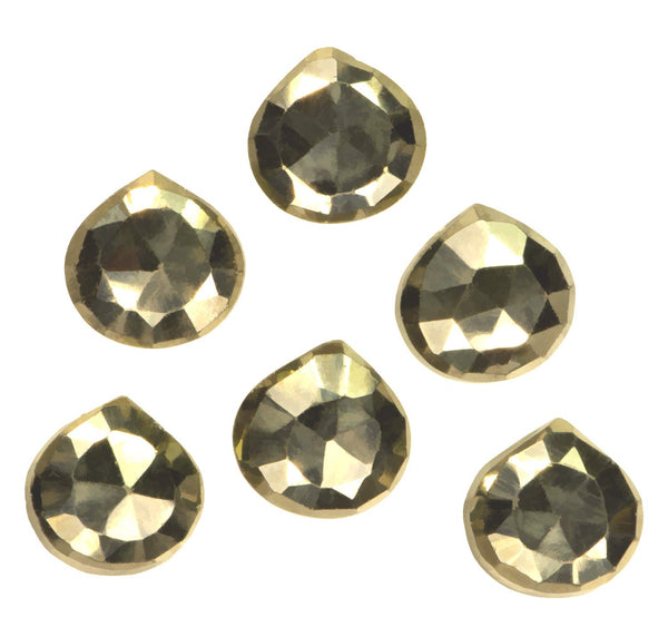 Pyrite ~10mm Faceted Briolette Beads (Qty=6)