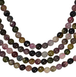 Tourmaline Multi Color Round 4mm Bead Strand 15""