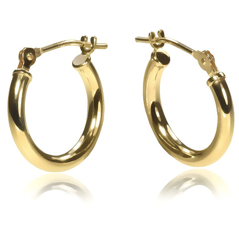 14K Gold 14 x 2mm Hoop Earrings