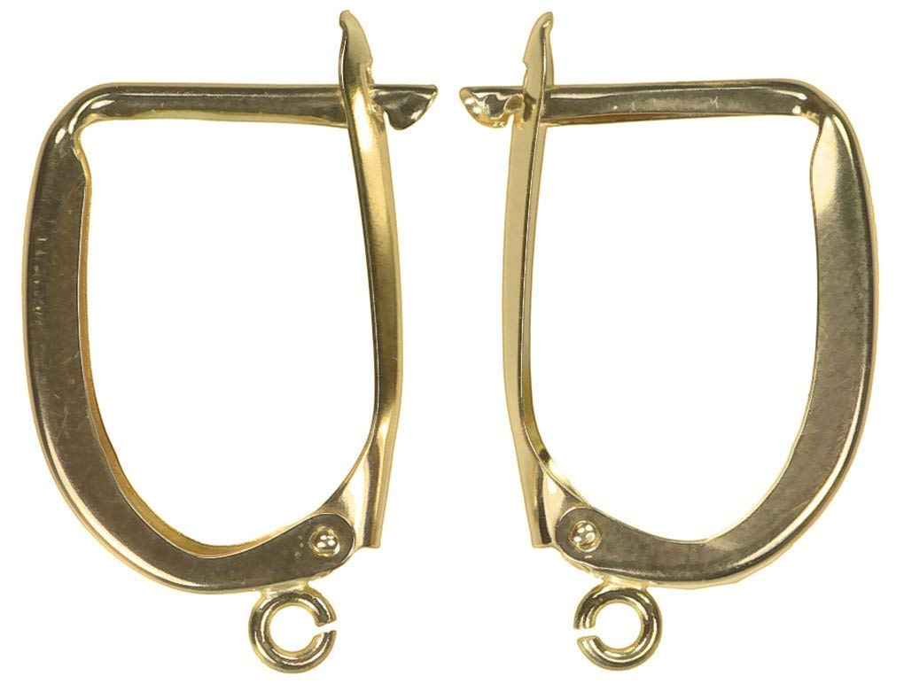 uGems 14K Solid Gold Euro Earring Hoops & Ring