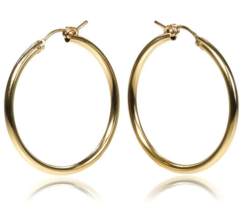 14k Gold Filled 30 x 2mm Tube Hoop Earrings