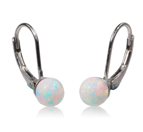 Sterling Silver Created Opal Leverback Earrings 6mm