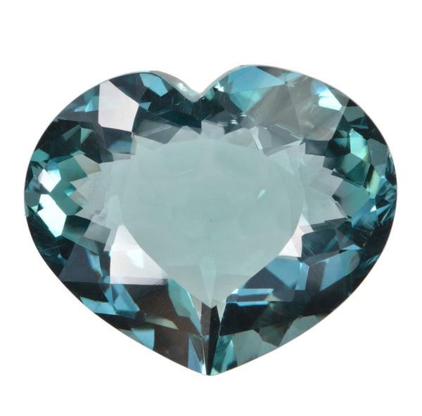 Blue Simulated Aquamarine Heart Checkerboard Cut 18mm