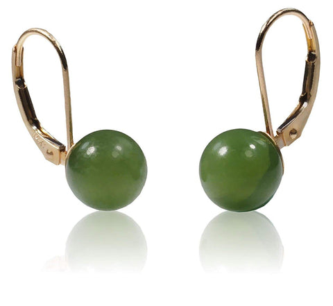14k Gold Nephrite Jade Round Stud Earrings 7mm
