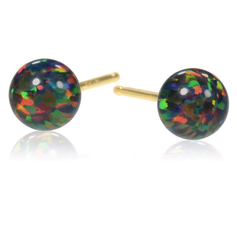 14k Gold Black Created Opal Round Stud Earrings 5mm
