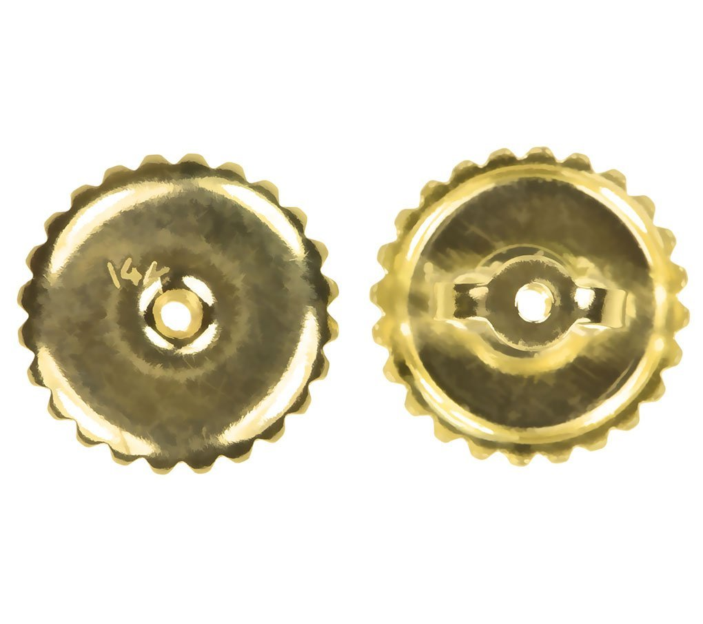 uGems 14K Solid Gold Large 8mm Screw Threaded Ear Nut for 040 Post 1 Pair