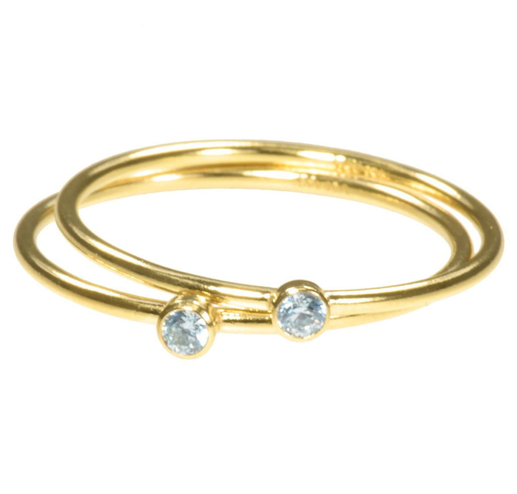 uGems 2 14K Gold Filled Aquamarine-Color CZ Stacking Rings Size 7